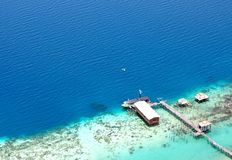 Aerial view of Jetty toward the ocean Stock Photo