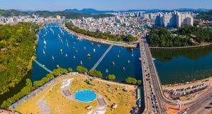 Aerial view of Jinju Namgang Yudeung Festival in Jinju city, Sou stock photography