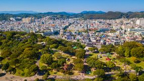 Aerial view of Jinju Namgang Yudeung Festival in Jinju city, Sou royalty free stock photography