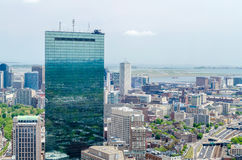 Aerial View of the John Hancock. Tower and Central Boston, USA royalty free stock photo