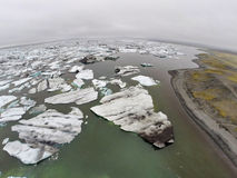 Aerial view on Jokulsarlon Glacier Lagoon Royalty Free Stock Photo