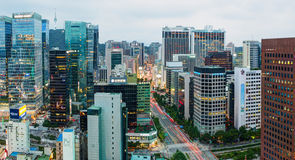 Aerial view of Jongno-Gu district in the heart of Seoul city Royalty Free Stock Photography