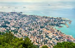 Aerial view of Jounieh in Lebanon stock image