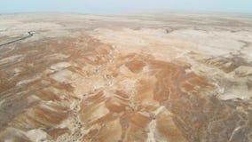 Aerial view of the Judean desert. Flying over desert lands near the dead sea. Jordan Israel Palestine stock video footage