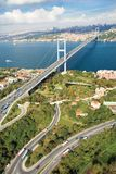 Aerial view of July 15 Martyrs Bridge or Bosphorus Bridge. Bosphorus with blue river on a sunny day with clouds in Istanbul Turkey. It unites two different royalty free stock photography