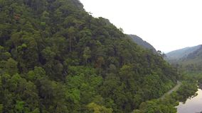Aerial view of jungle covered mountain, jungle goad and river stock video footage