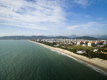 Aerial view Jurere Beach in Florianopolis, Brazil. July, 2017. Aerial view Jurere Beach in Florianopolis, Brazil. July 2017 stock photos