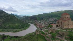 Aerial view. Jvari - Georgian monastery and temple. Located on top of a mountain at the confluence of Kura and Aragvi near Mtskheta royalty free stock photos