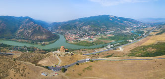 Aerial view of Jvary monastery Royalty Free Stock Photo