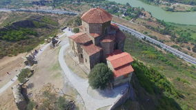 Aerial view of Jvary monastery stock video