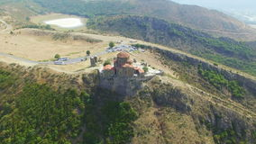 Aerial view of Jvary monastery near Mtskheta stock footage