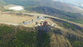Aerial view of Jvary monastery near Mtskheta stock video footage