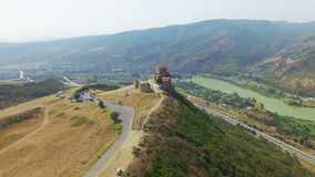 Aerial view of Jvary monastery near Mtskheta stock video