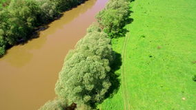 Aerial View 4k. Flying over the beautiful River. Aerial camera shot. Landscape panorama. stock video footage