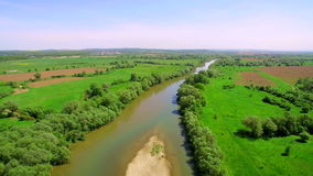 Aerial View 4k. Take-off. Flying over the beautiful River. Aerial camera shot. Landscape panorama. stock video