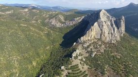 Aerial View: Kaban mountain in Crimea and mountains near Gelendzhik in Russia stock video footage