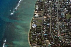 Aerial view of Kahala, Beach and Pacific ocean Stock Images