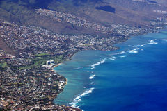 Aerial view of Kahala, and H-1 Highway, Pacific ocean, clouds, a Royalty Free Stock Photography