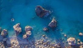 Aerial view of Kalamitsi beach Lefkada island, Greece royalty free stock photos