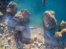 Aerial view of Kalamitsi beach Lefkada island, Greece stock photo