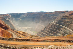 Aerial view Kalgoorlie Super Pit open cut Gold Mine royalty free stock images