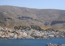 Aerial view of the Kalymnos Town and Port Royalty Free Stock Photography