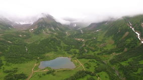 Aerial View Kamchatka. Shot from the air of the mountains and lakes stock video