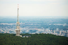 Aerial view of Kamzik TV transmission tower, Bratislava Stock Photo