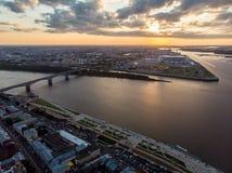 Aerial view of Kanavinsky bridge next to a confluence of Oka and Volga rivers stock photos