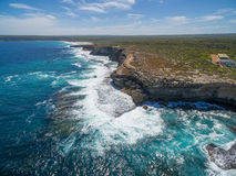 Aerial view of Kangaroo Island rugged coastline. Aerial view of Kangaroo Island rugged coastline Royalty Free Stock Photography