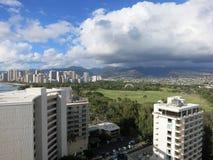Aerial view of Kapiolani Park, Waikiki, Honolulu town area Stock Photography