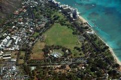 Aerial view of Kapiolani Park, Waikiki Shell, Natatorium, Zoo. Kapahulu town, Pacific ocean on Oahu, Hawaii. April 2016 Royalty Free Stock Photo