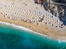 Aerial View of Kaputas Beach Turkish Mediterranean Coast in Antalya Province Kas / Turkey. Vacation in Turkey stock photo