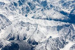 Aerial view of Karakoram or Karakorum mountains. Spanning the borders of Pakistan, India, and China royalty free stock photography
