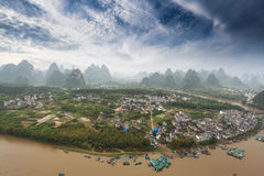Aerial view of karst mountain landscape Stock Photo