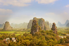 Aerial view at Karst mountains near Guilin in China. Royalty Free Stock Image