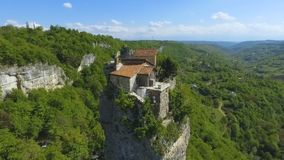 Aerial view of Katskhi Pillar with ancient church on top in Chiatura, Georgia stock footage