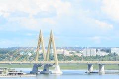 Aerial view of Kazan city. Landmark bridge. royalty free stock images