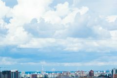 Aerial view of Kazan city. Living districts and dramatic sky. stock photos
