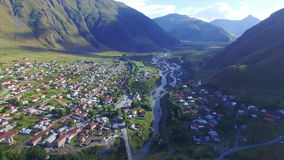 Aerial view of Kazbegi stock video footage
