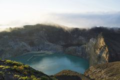 Aerial view of Kelimutu lake of Indonesia. Kelimutu lake, Indonesia. Kelimutu is a volcano, close to the small town of Moni in central Flores island in Indonesia stock photography