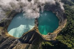 Aerial view of Kelimutu volcano and its crater lakes, Indonesia stock image