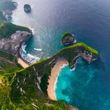 Aerial view of the Kelingking beach stock images