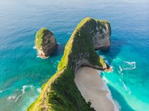 Aerial view Kelingking Beach on Nusa Penida Island, Bali, Indonesia
