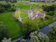 Aerial view. Kells Priory. county Kilkenny. Ireland. Aerial view of Kells Priory and river King, one of the largest medieval priories in the country. county royalty free stock photo
