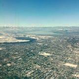 Aerial view of Kelowna BC. Aerial view of city of Kelowna, BC. British Columbia, Canada. Winter aerial landscape Stock Images