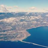 Aerial view of Kelowna BC. Aerial view of Kelowna, BC in winter with bridge to West Kelowna, Westbank over Okanagan lake Stock Photo