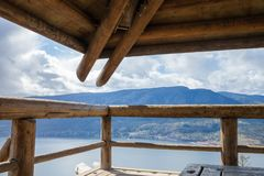 Aerial view of Kelowna from Knox Mountain Park, British Columbia. Canada Stock Photos