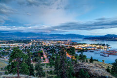 Aerial View of Kelowna Skyline at Night. Aerial View of Kelowna, British Columbia, just after sunset on Knox Mountain, Canada Stock Images