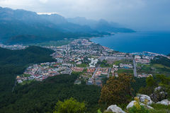 Aerial view of Kemer town with seashore Stock Photo